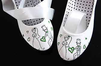 Obuv - svadobné balerínky so zelenou - 8691446_