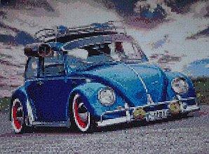 Obrazy - Modré auto na ceste - 8689687_