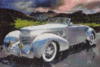 Obrazy - Strieborné auto retro limuzína - 8689890_