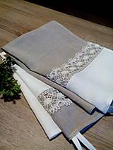 Úžitkový textil - Set dvoch ľanových utierok s ľanovou krajkou - 8690650_
