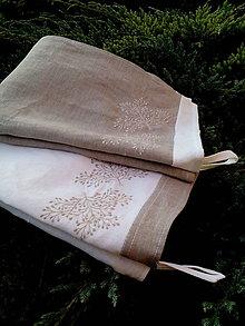 Úžitkový textil - Set dvoch ľanových utierok s výšivkou - 8690697_