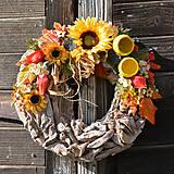 Dekorácie - Jesenný venček na dvere so slnečnicou - 8690267_