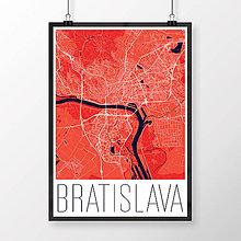 Grafika - BRATISLAVA, moderná, červená - 8688030_