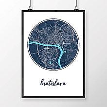 Grafika - BRATISLAVA, okrúhla, tmavomodrá - 8688060_
