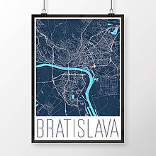 Grafika - BRATISLAVA, moderná, tmavomodrá - 8688073_