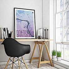 Grafika - BRATISLAVA, elegantná, modro-fialová - 8688080_