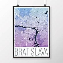 Grafika - BRATISLAVA, moderná, modro-fialová - 8688098_