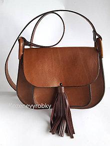 Kabelky - Kožená kabelka so strapcami - 8689930_