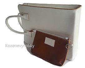 Kabelky - Biela kožená kabelka s kapsičkou - 8690105_