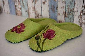 Obuv - Plstené papuče zelené - 8690566_
