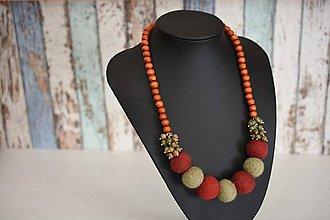 Náhrdelníky - Plstený náhrdelník s minerálom - 8690704_