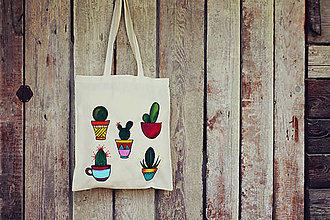 Nákupné tašky - Kaktusová nákupná taška 100% bavlna - 8689108_