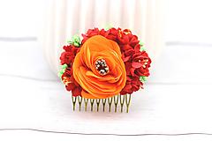 Ozdoby do vlasov - Hrebienok oranžovo-červený ruža - 8689355_