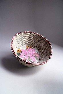 Košíky - Košík papierový - Biely | Ružový | LOVE - 8691777_