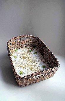 Košíky - Košík papierový - Hnedý | Čerešne | veľký - 8692424_