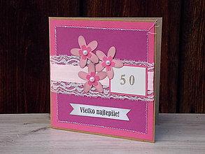 Papiernictvo - ...pohľadnica jubilejná v ružovom... - 8692106_