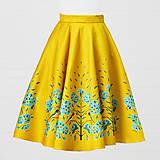 Sukne - Saténová sukňa - lastovička a ľanový kvet - 8690790_