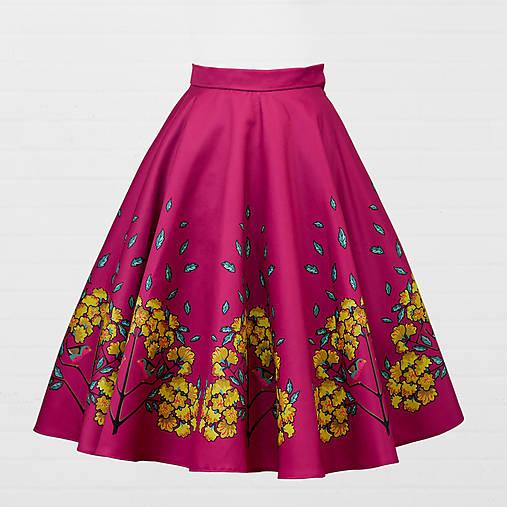 Sukne - Saténová sukňa - červienka a zlatý dážď - 8690698_
