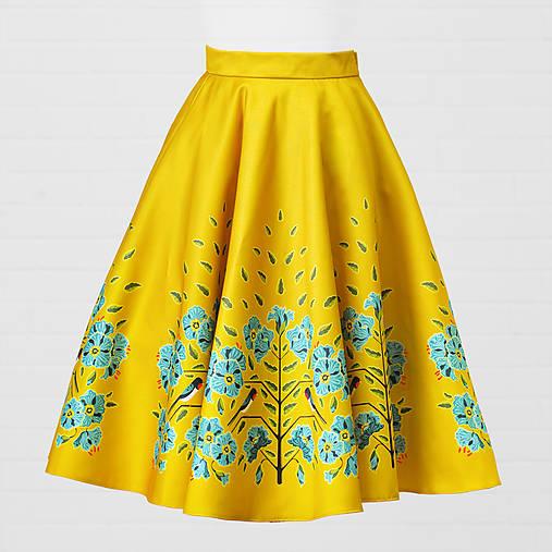 Saténová sukňa - lastovička a ľanový kvet