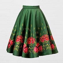 Sukne - Saténová sukňa - sýkorka a pivónia - 8691032_