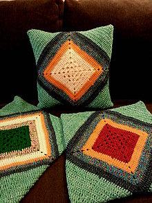 Úžitkový textil - VANKÚŠE háčkované zelenofarebné - 8692201_