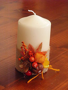 Svietidlá a sviečky - Jesenná sviečka s tekvicou 12cm - 8688239_