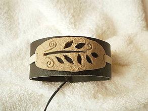 Náramky - Náramok koženo-polymérový, halúzka - 8688545_