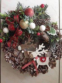 Dekorácie - Vianočný Vencek soby -33cm - 8689164_