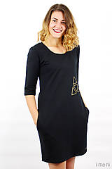 Šaty - Mikinošaty s vreckami čierne IO5 - 8691821_