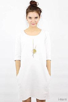 Šaty - Mikinošaty s vreckami biele IO6 - 8691850_