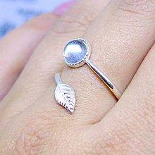 Prstene - Simple Leaf Silver Gemstone Ring Ag925 / Strieborný prsteň s minerálom #0436 (Labradorite / Labradorit) - 8694601_