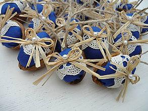 Dekorácie - Vianočné oriešky FOLKlórne modré - 8694670_