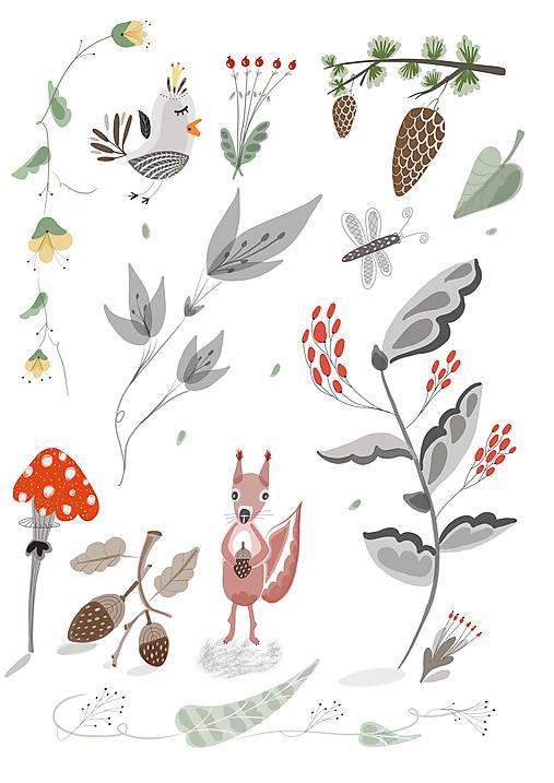 V lese - ilustrácia / print vlastného obrazu