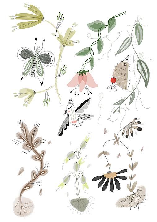 V lese 2 ilustrácia / print vlastného obrazu
