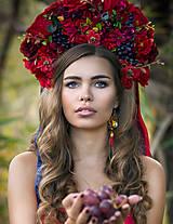 """Ozdoby do vlasov - Kvetinová bohato zdobená ľudová parta """"Sen nevesty"""" v červenej - 8695165_"""