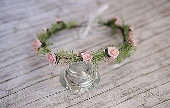 Ozdoby do vlasov - Kvetinový venček ružové ruže - 8692454_