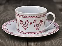 Nádoby - Maľovaná šálka na kávu s podšálkou: Vtáčiky folk/ folklór (Bordová 200 ml) - 8693861_
