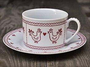 Nádoby - Maľovaná šálka na kávu s podšálkou (200 ml): Vtáčik folk (Bordová) - 8693861_