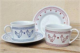 Nádoby - Maľovaná šálka na kávu s podšálkou (200 ml): Vtáčik folk (Tmavomodrá) - 8693869_