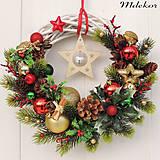 Dekorácie - Vianočný veniec hviezda s roľničkou - 8694956_