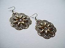 Náušnice - Gold flowers - 8692952_