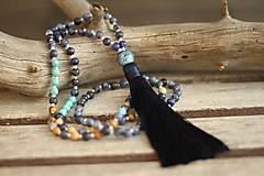 - Japa Mala náhrdelník z minerálov a strapcom - 8695516_