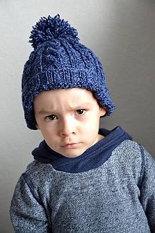Detské čiapky - Sebinko v modrej čiapke - 8693662_