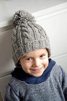 Detské čiapky - Sebinko v šedej čiapke - 8693709_