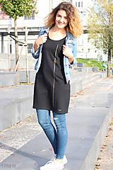 Šaty - Šaty s vreckami čierne z teplákoviny M14 IO7 - 8695926_