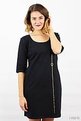 Šaty - Šaty s vreckami čierne z teplákoviny M14 IO7 - 8695940_
