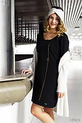 Šaty - Šaty s vreckami čierne z teplákoviny M14 IO7 - 8695941_