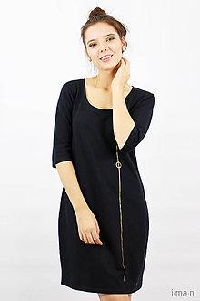 Šaty - Šaty s vreckami čierne z teplákoviny M14 IO7 - 8695943_