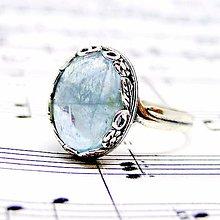 Prstene - Blue Aquamarine Vintage Flower & Silver Ag 925 Ring / Strieborný vintage prsteň s pravým akvamarínom /0468 - 8698429_