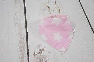 Detské doplnky - Nákrčník ružové hviezdičky s minky - 8699871_